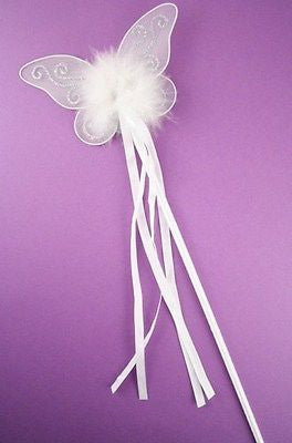 GIRLS SPARKLY BUTTERFLY FAIRY PRINCESS FLOWER GIRL BRIDESMAIDS WAND PINK, WHITE