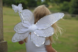SILVER WHITE FAIRY WINGS AND WAND SET