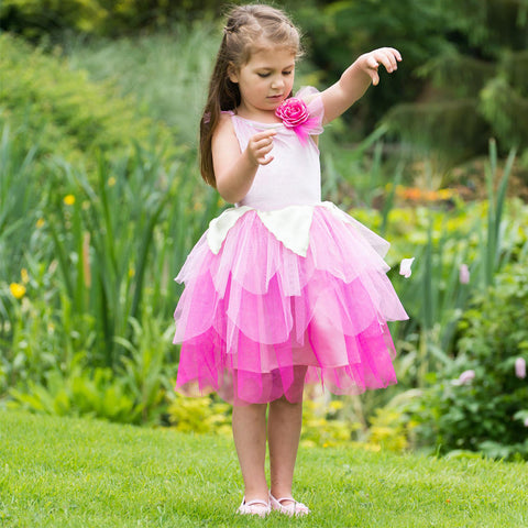GIRLS PINK ROSE FAIRY COSTUME