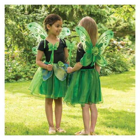 GIRLS GREEN WOODLAND FAIRY COSTUME