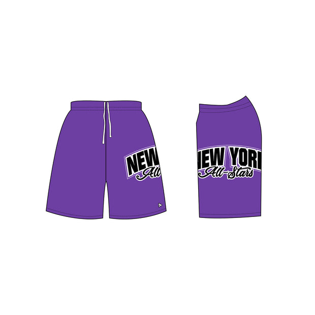 New York All-Stars Men's Cheer Shorts in Purple