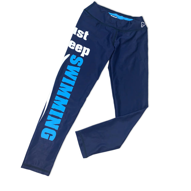 Just Keep Swimming Leggings in Navy