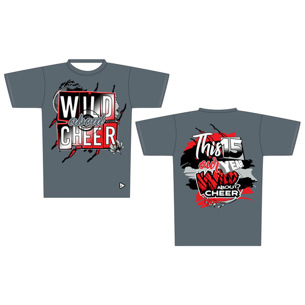 Wild About Cheer Athletic Round Neck Tee in Grey