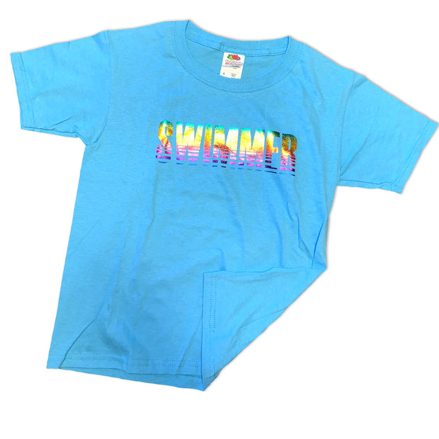 Neon Swimmer T-Shirt in Blue