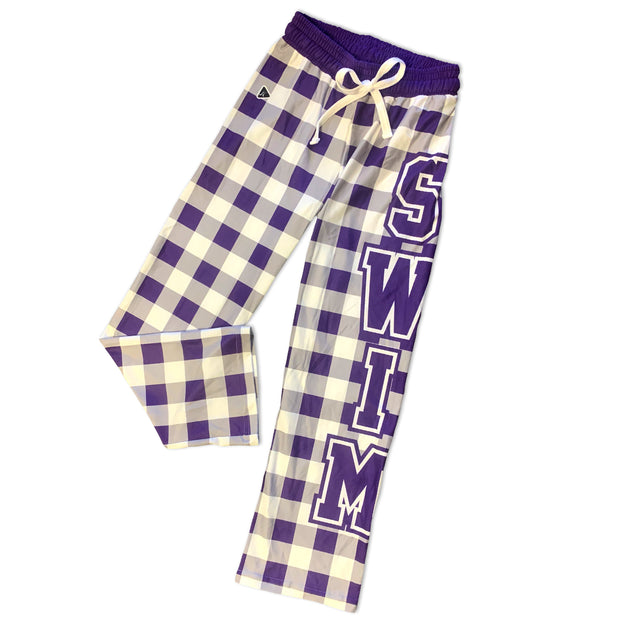Checkered Swim PJ Pants in Purple