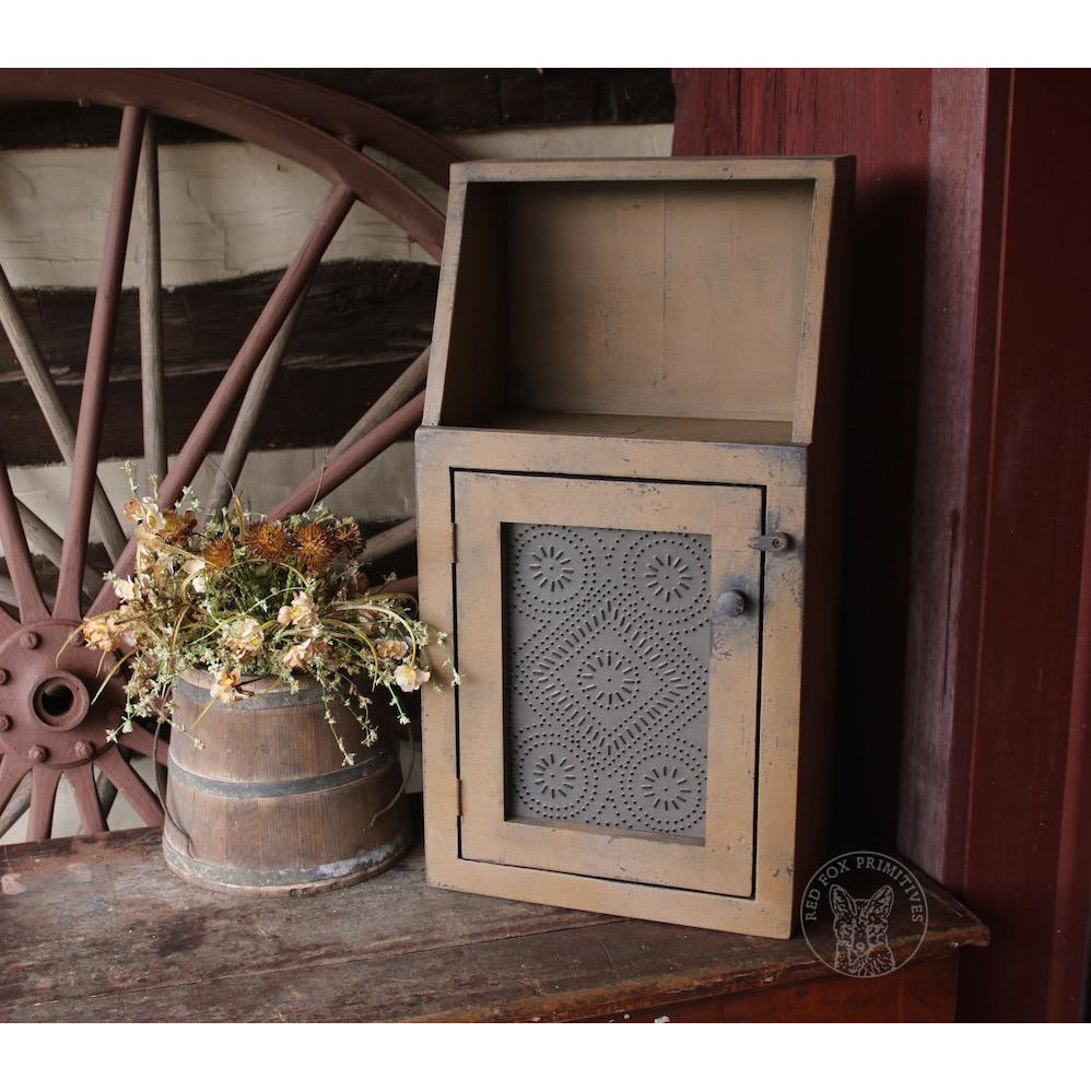 Mini-Step-Back Pie Safe - Industrial Style Tin Door & Mini-Step-Back Pie Safe - Industrial Style Tin Door - Red Fox Primitives