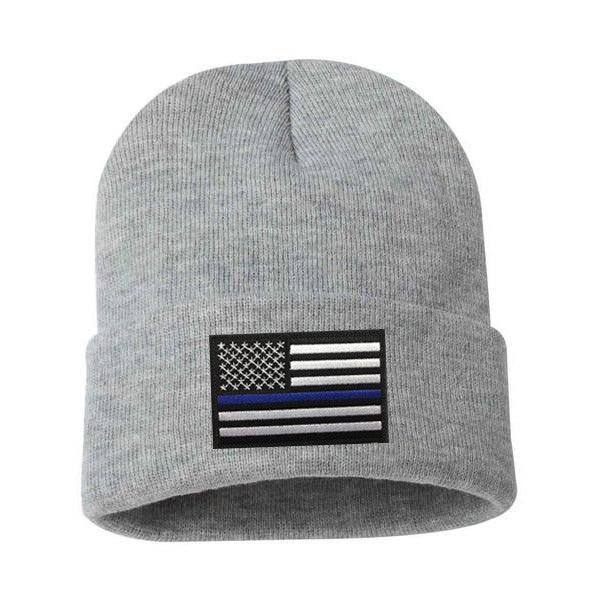 Thin Blue Line Flag Embroidered Winter Hat - Thin Blue Line USA db024703d86