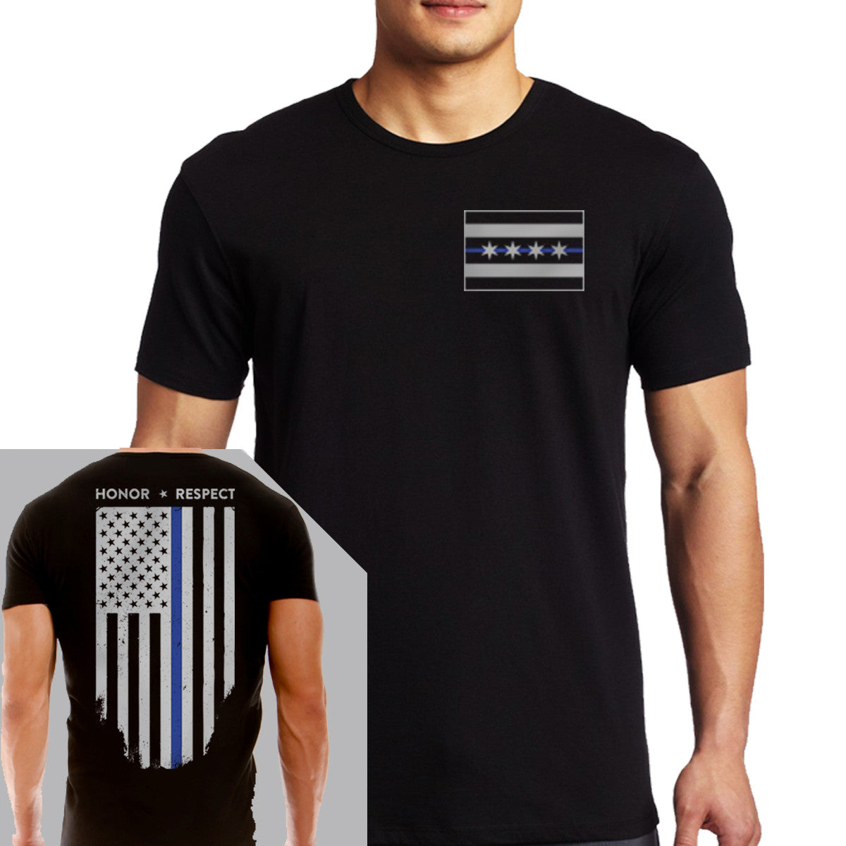 6c040ef8d079 Men's T-Shirt - Chicago Thin Blue Line Flag - Thin Blue Line USA ...
