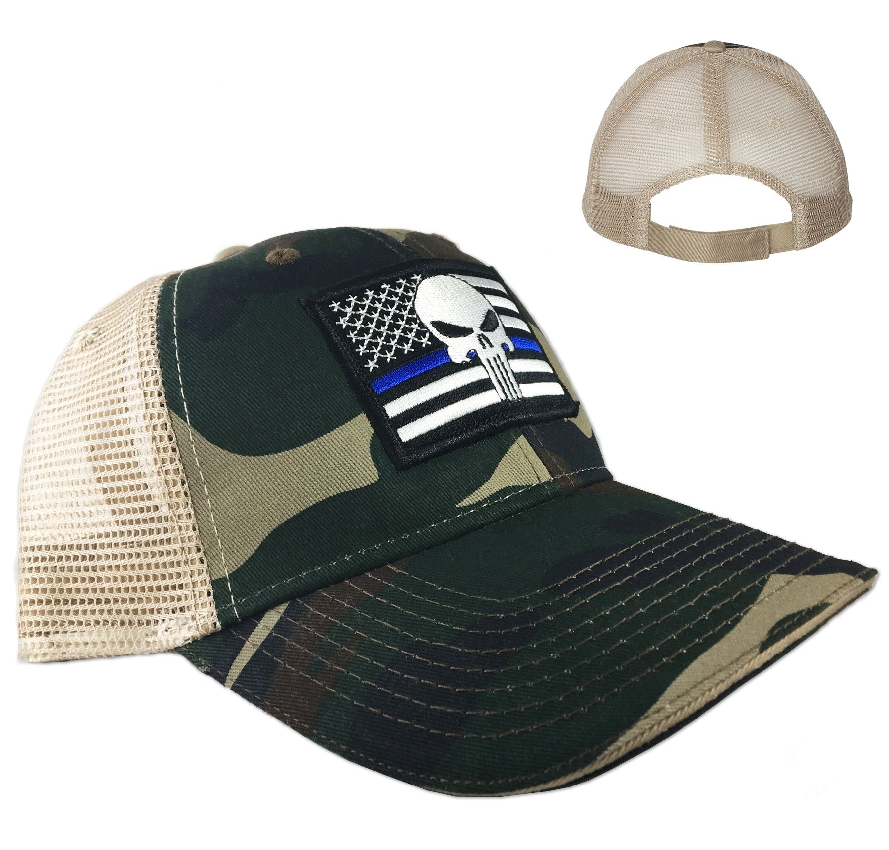Camo Trucker s Hat - Skull Thin Blue Line 500789e66293