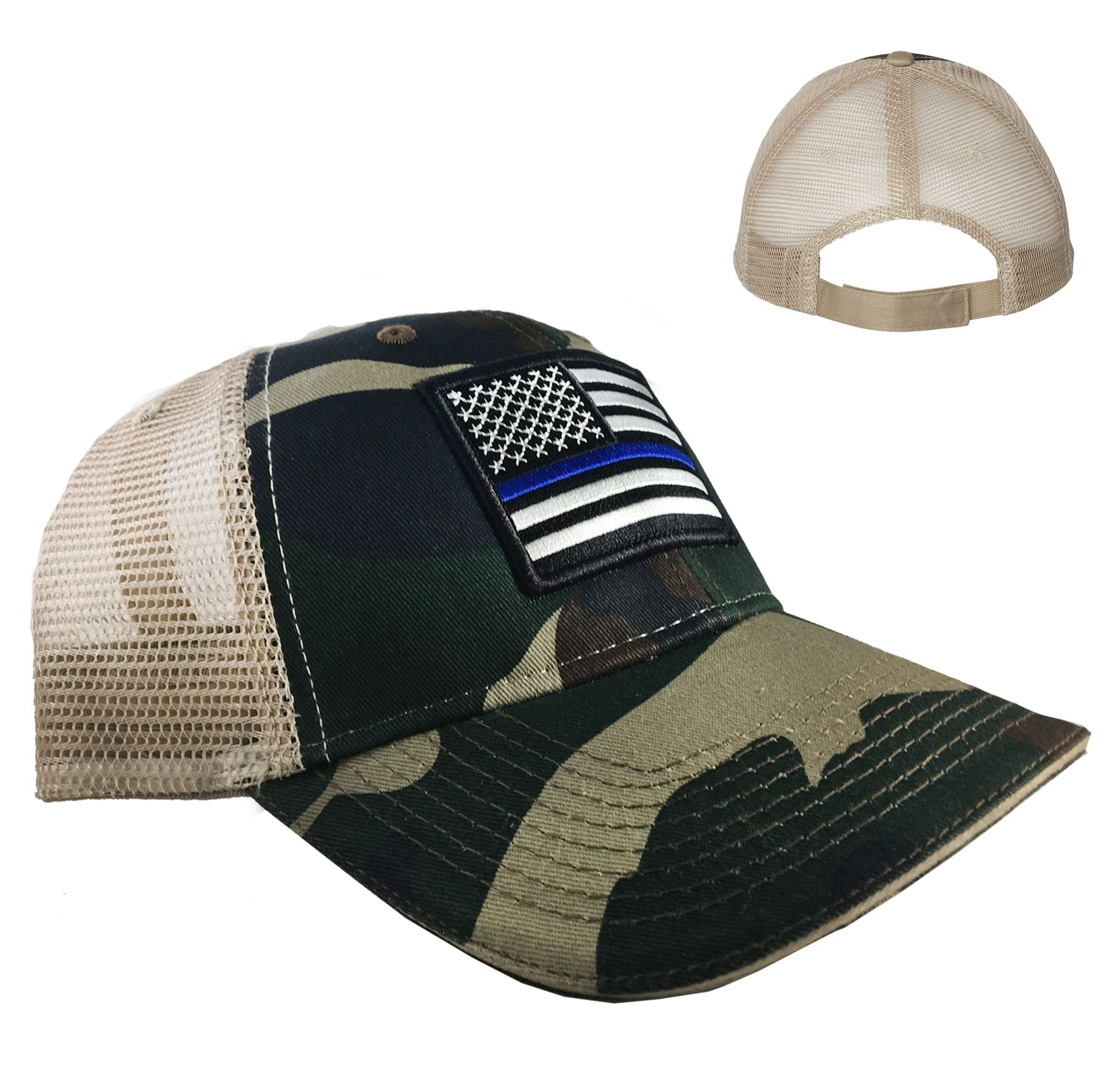 Camo Trucker s Hat - Thin Blue Line American Flag 1571c1911b60