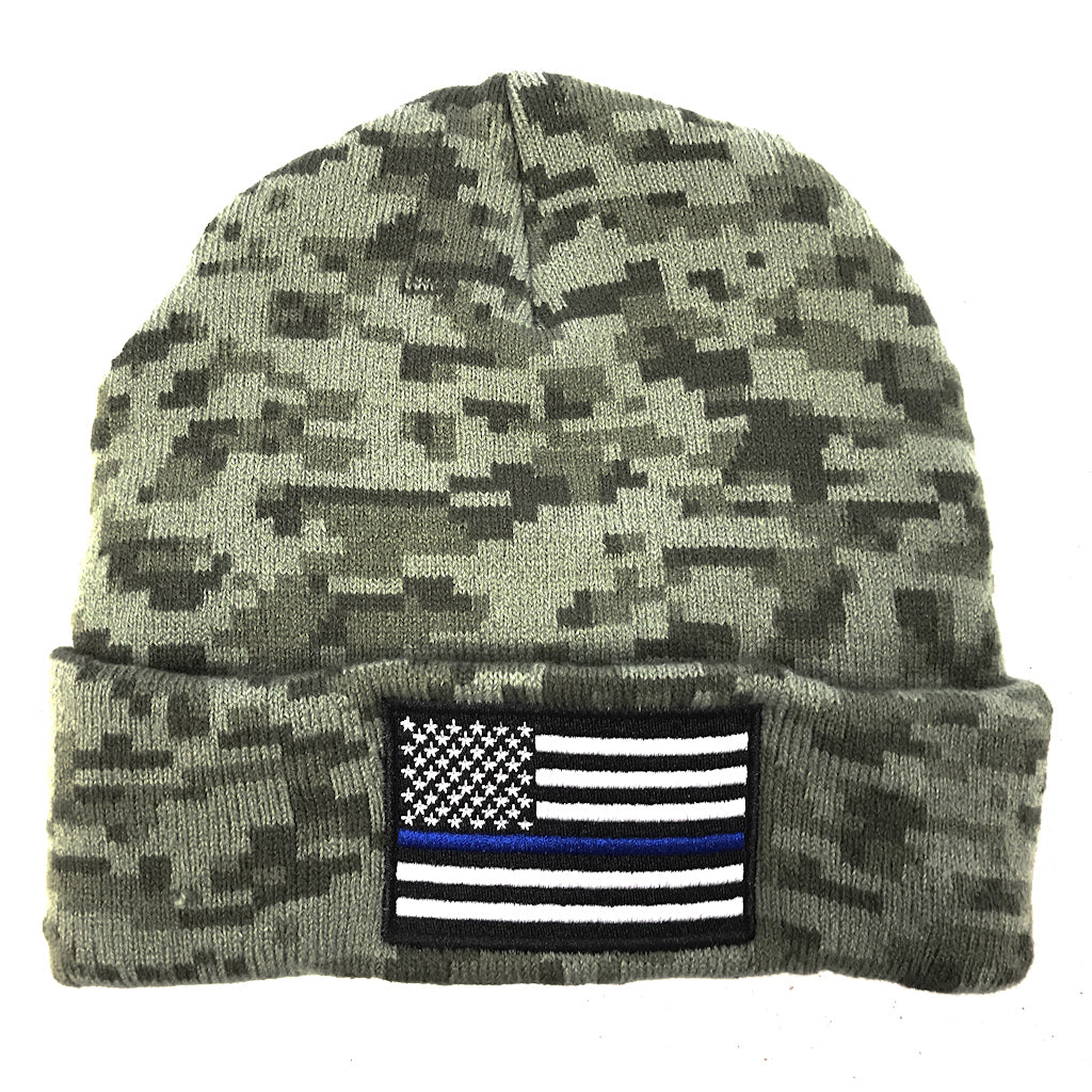 Thin Blue Line Red Line Fire Police Military Dispatch Corrections Beanie Cap Skull Cap Men Women Winter Warm Knitting Hats
