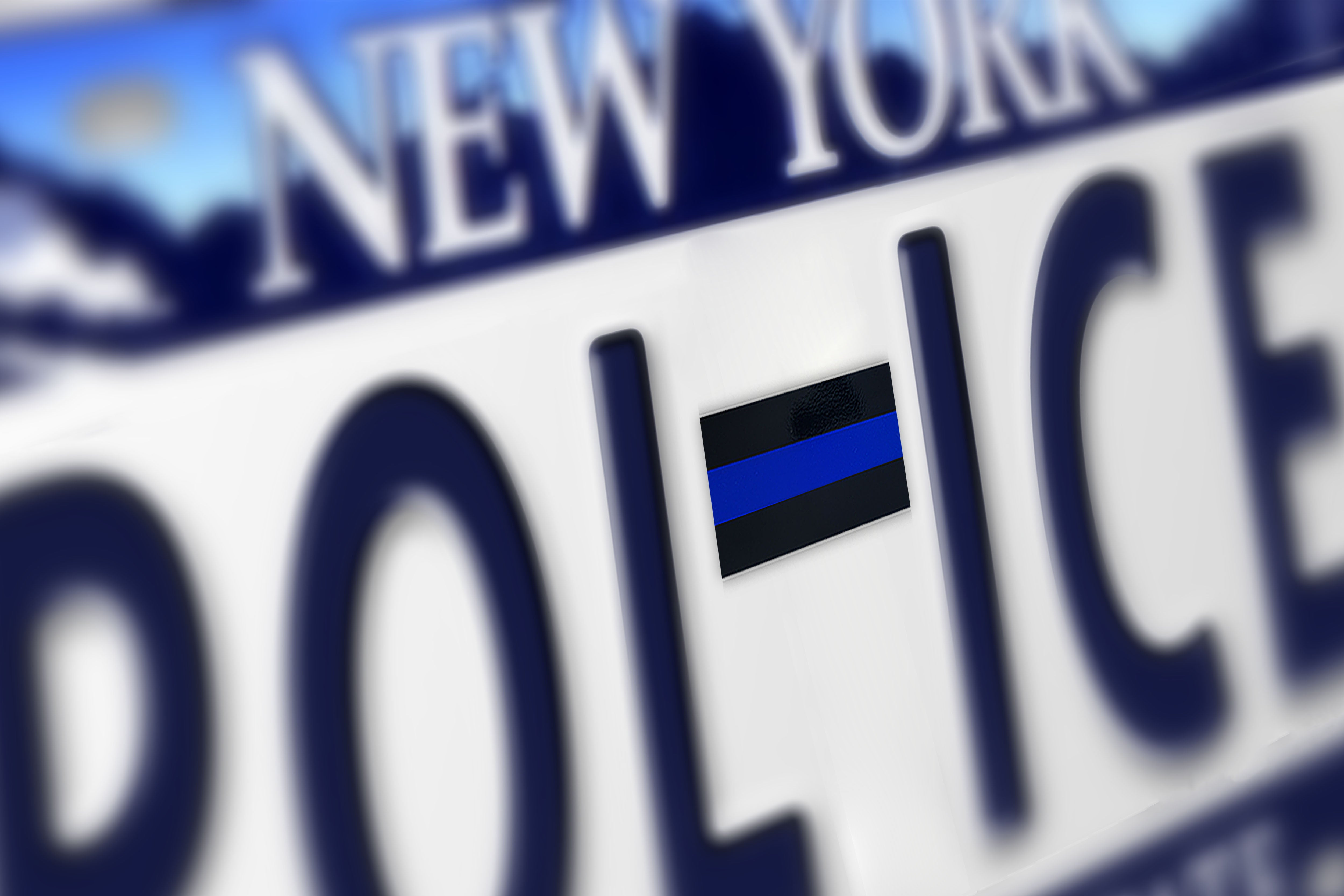 """Thin Blue Line with Shield License Plate 6/"""" x 12/"""" Made in USA by Veterans"""