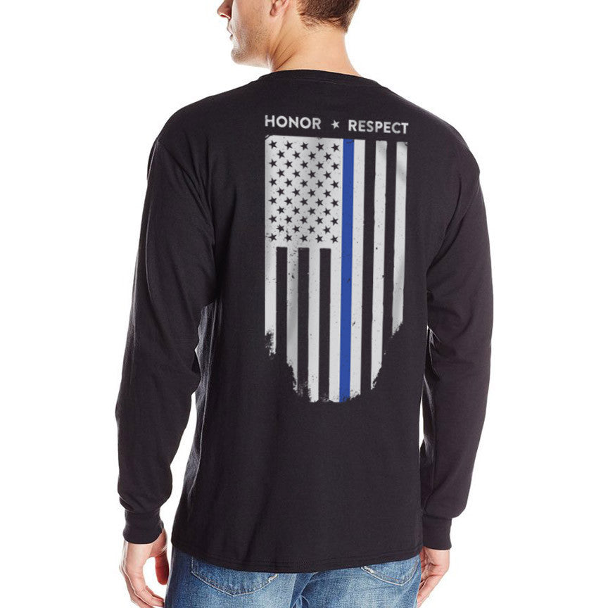 Long Sleeve Thin Blue Line Flag T-Shirt - Thin Blue Line USA 34e9b7cad81
