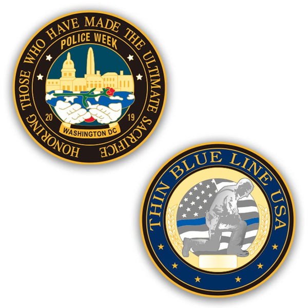 Limited Edition Police Week 2019 Challenge Coin - Thin Blue Line USA