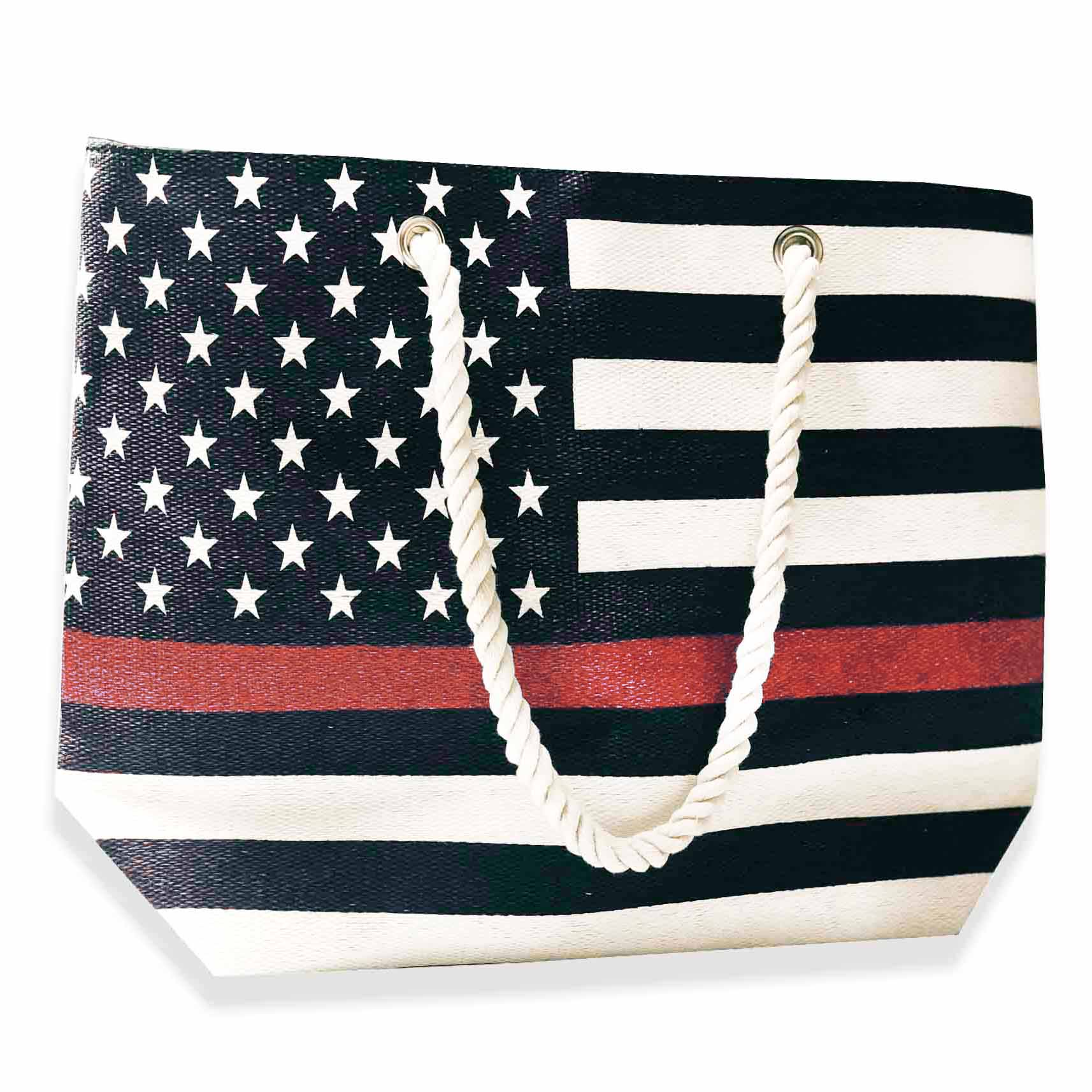 Red Line American Flag >> Beach Bag Thin Red Line American Flag