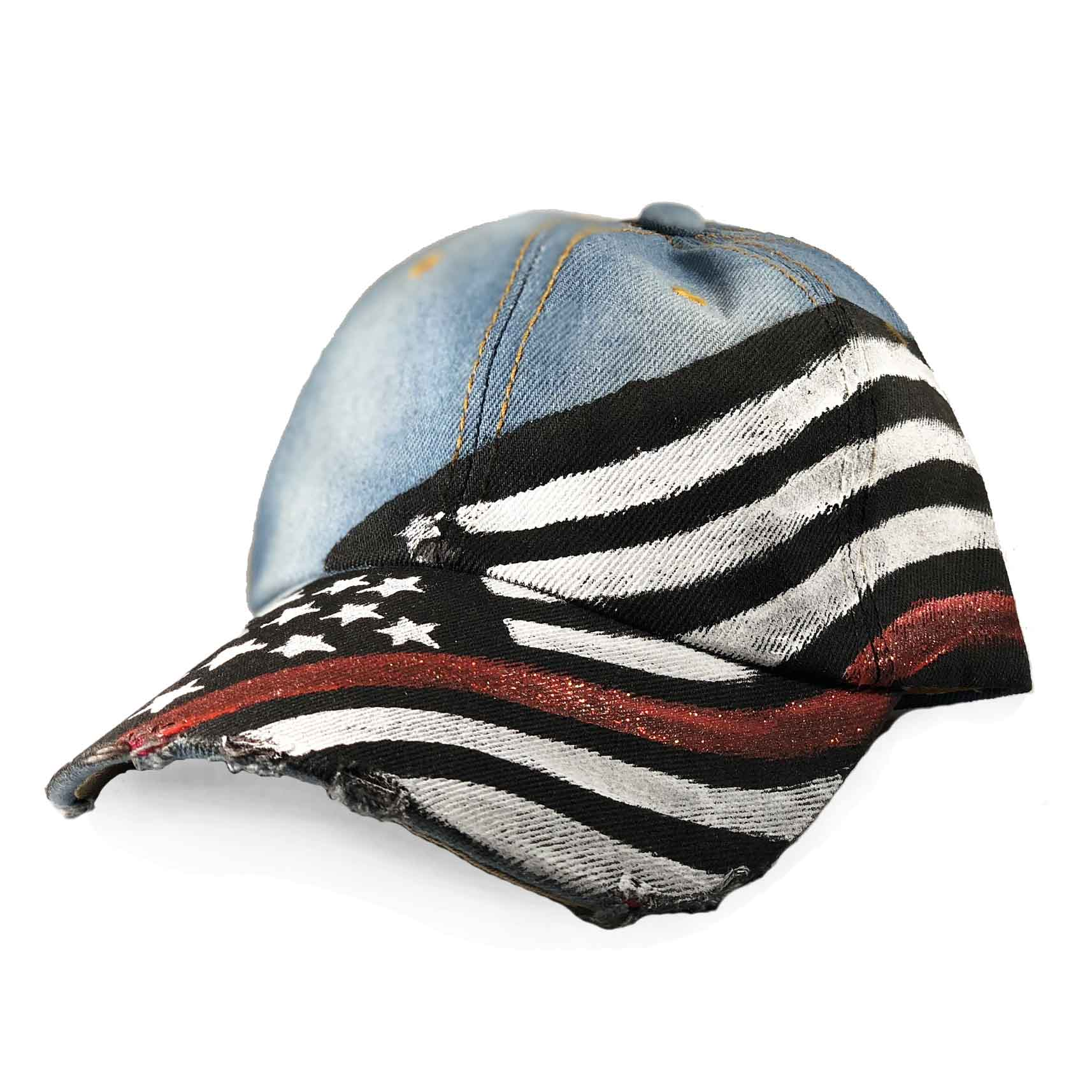 7024b9a7ff4d Women s Thin Red Line Painted Hat