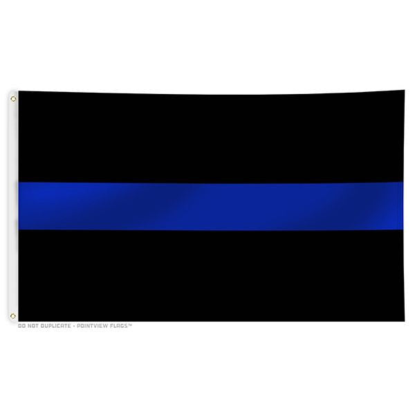 Thin Blue Line Flag With Grommets Thin Blue Line Usa