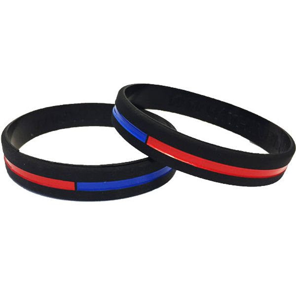 Thin Blue Line Bracelet Police Support Silicone Wristband Back the Blue 6 pack