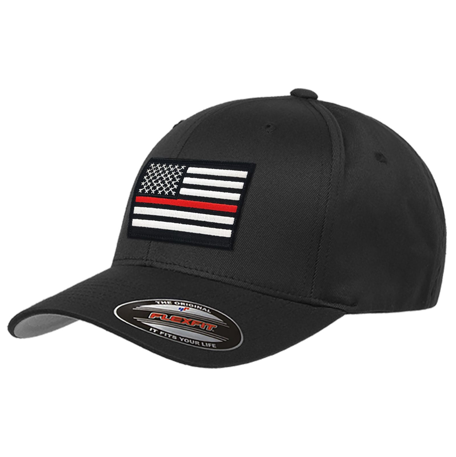 821362d8f3716 FlexFit Thin Red Line Flag Hat, Black - Thin Blue Line USA