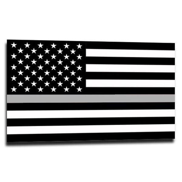 Thin silver line american flag sticker 4 x 6 5 inches