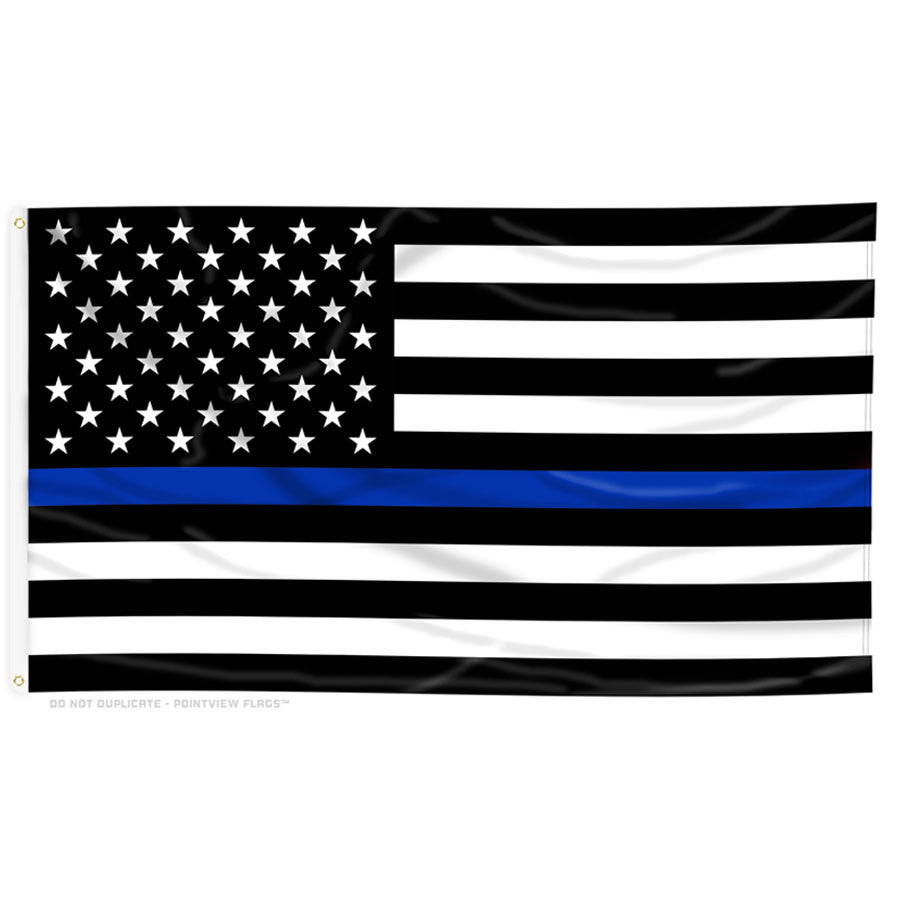 Thin Blue Line American Flag With Grommets Thin Blue Line Usa