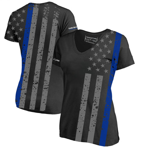 a96d266a570f8f Athletic Women's V-Neck Shirt - Distressed Thin Blue Line Flag