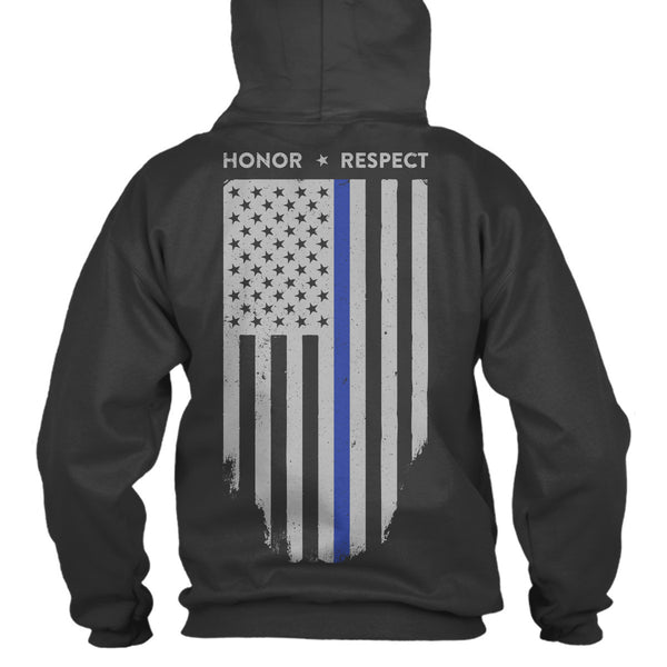 FASHION#CC Mens Pullover Hoodie Outer Jacket with Pockets Vertical Thin Blue Line American Flag