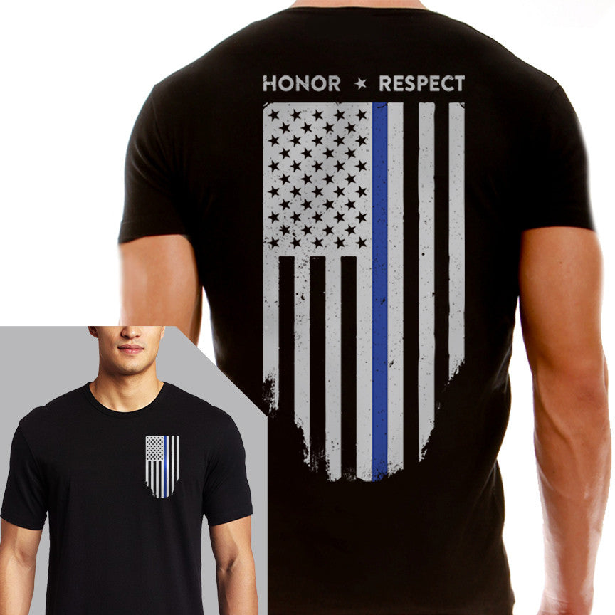 b3f94a49 Men's T-Shirt - Thin Blue Line Flag - Thin Blue Line USA - 1 ...