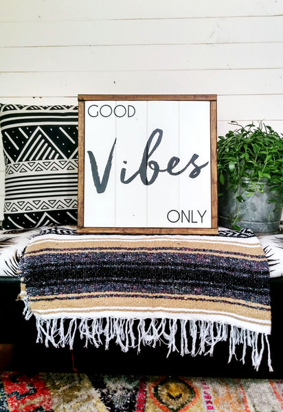"""Good Vibes Only"" Boho Chic Wall Decor-White + Dark Walnut-Handmade Ready to Ship"