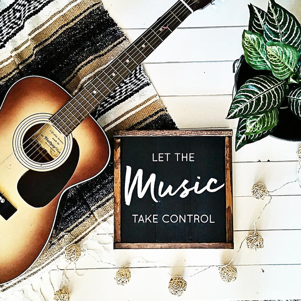 """Let the Music Take Control"" Boho Vintage Chic Wood Wall Art-Handmade to Order"