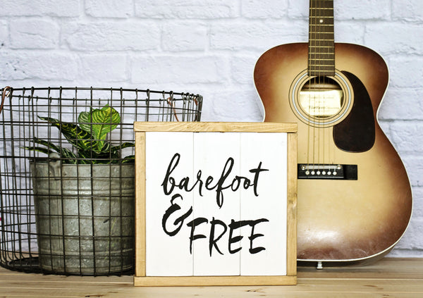 Barefoot & Free Wood Sign Styled with guitar