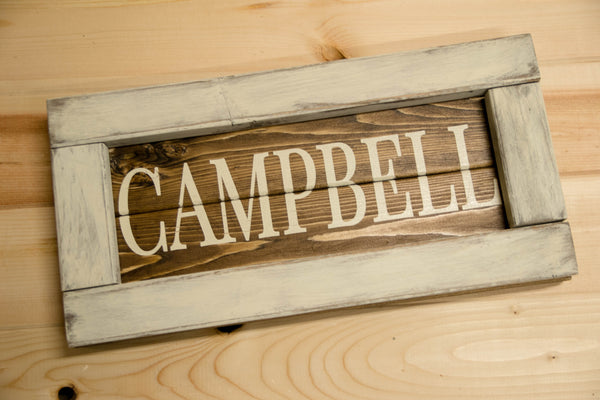 Family Name Framed Wood Plank Sign