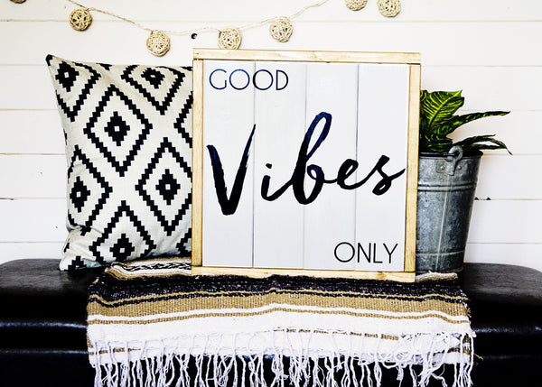"""Good Vibes Only"" Boho Wood Sign-Handmade to Order"