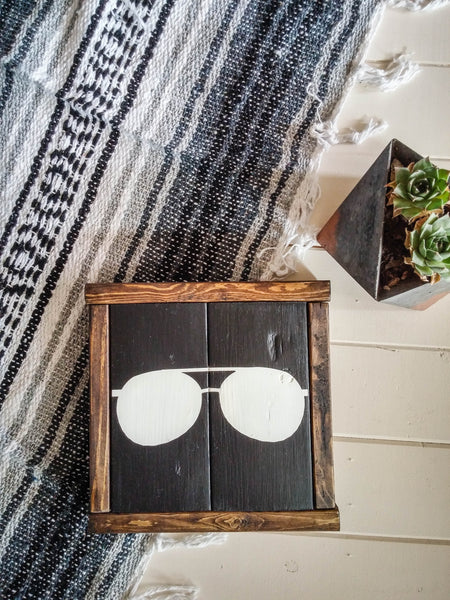 Aviator Sunglasses Icon Vintage Apartment Wall Art - Handmade Ready to Ship