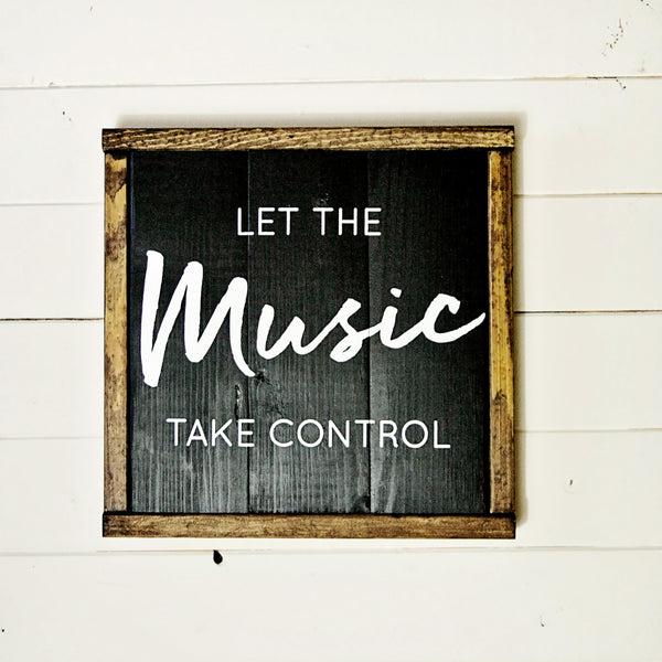 Let the Music Take Control Boho Vintage Chic Wood Wall Art