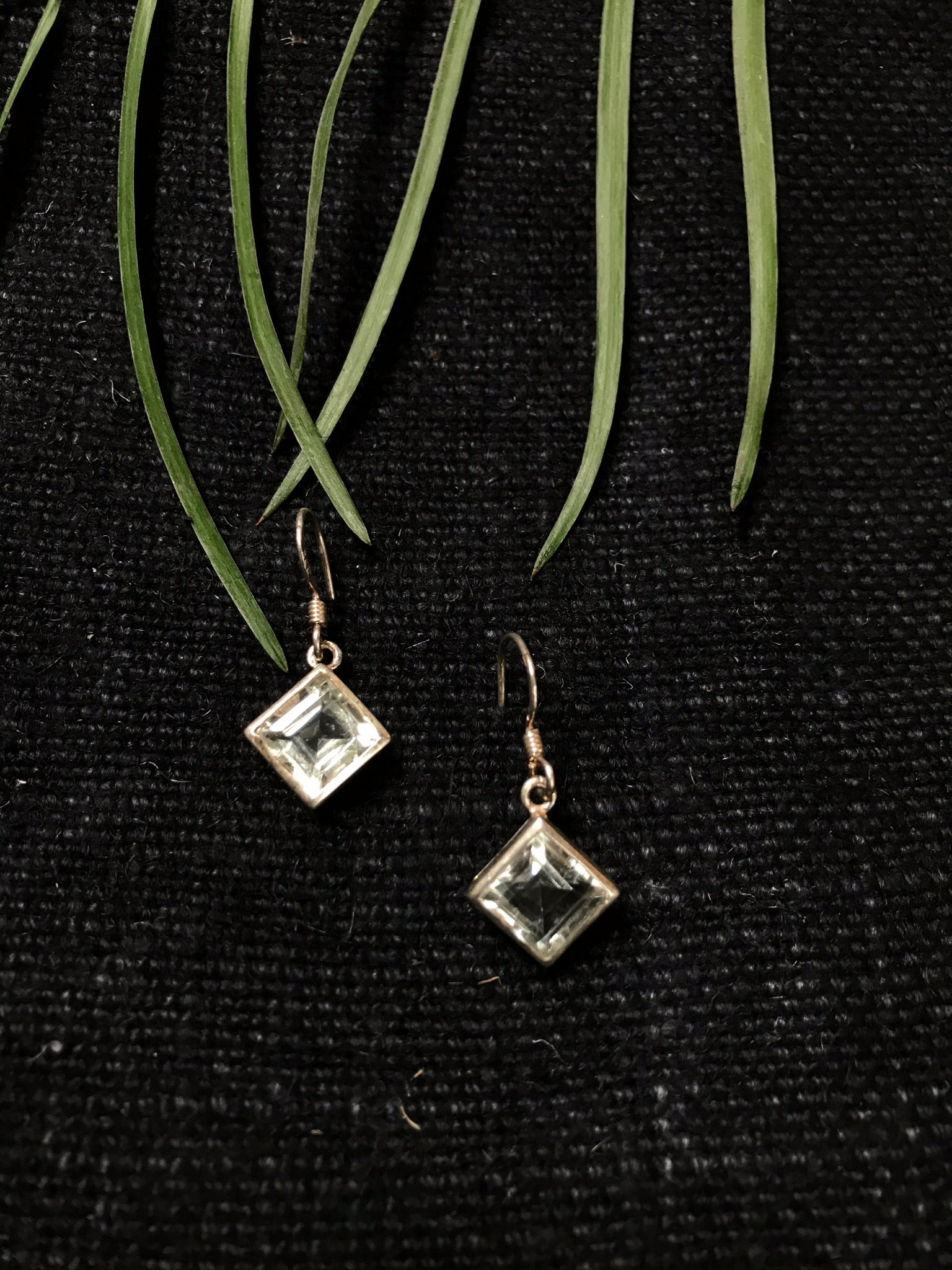 Green Amethyst Diamond Drop Earrings