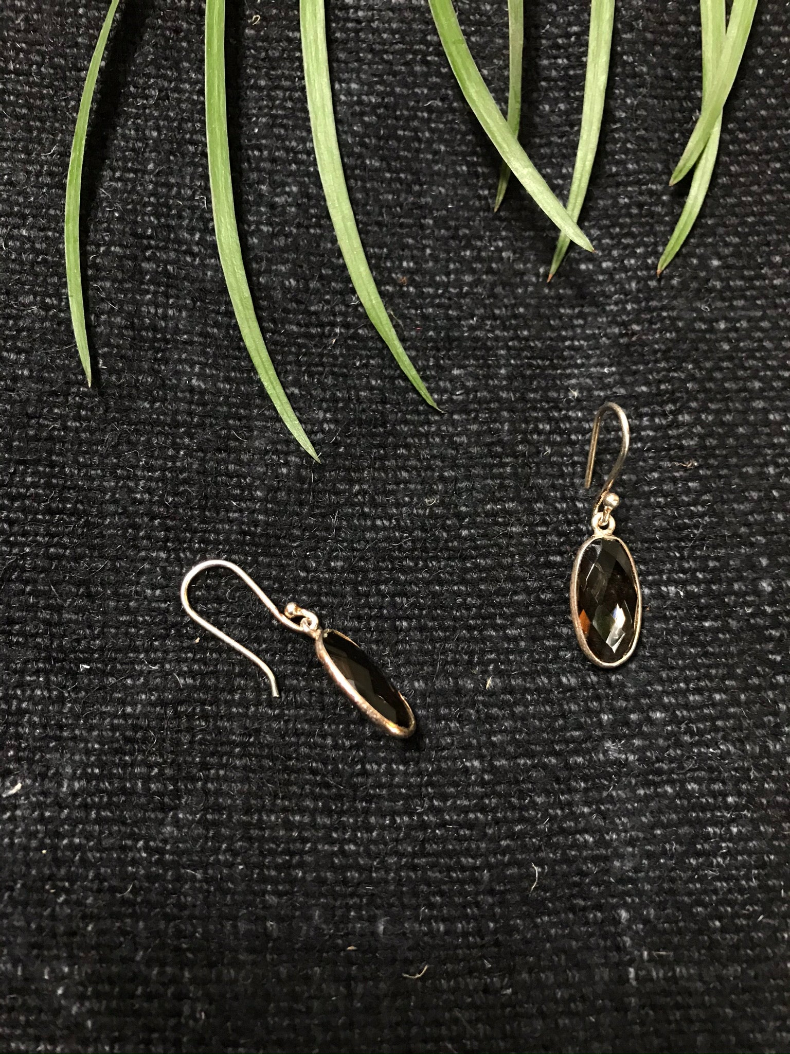 Smoky Quartz Oval Drop Earrings