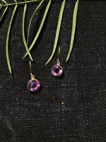 Amethyst Scallop Edged Drop Earrings