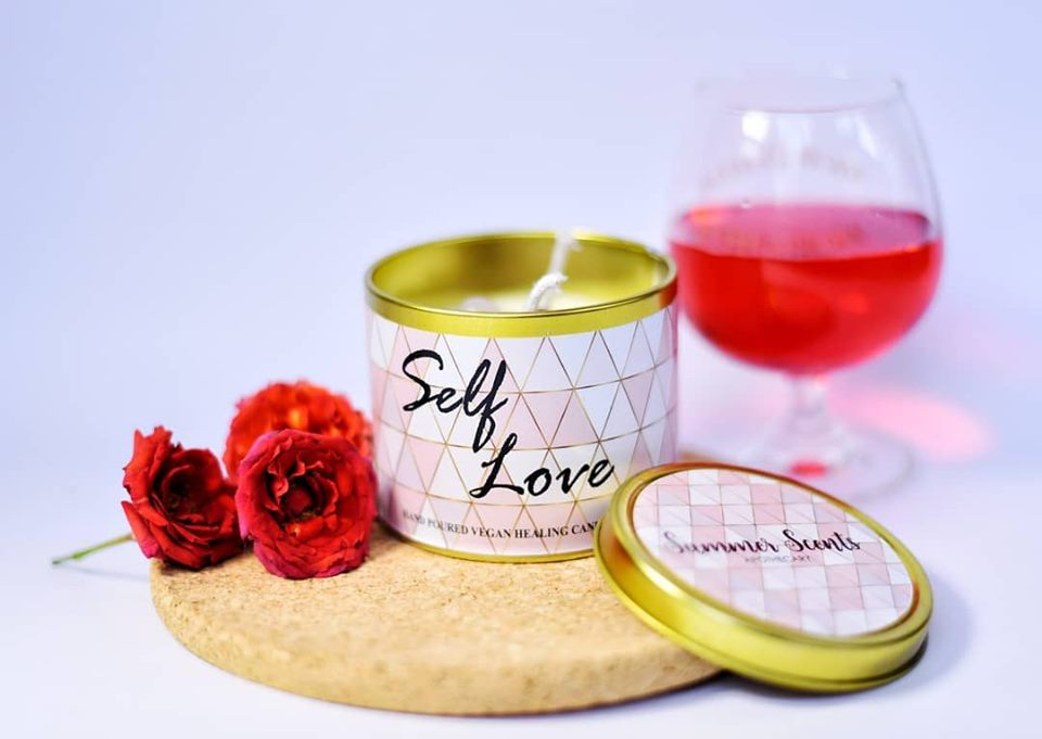 Self Love Crystal Candle