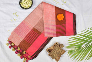Flamingo - Linen Saree