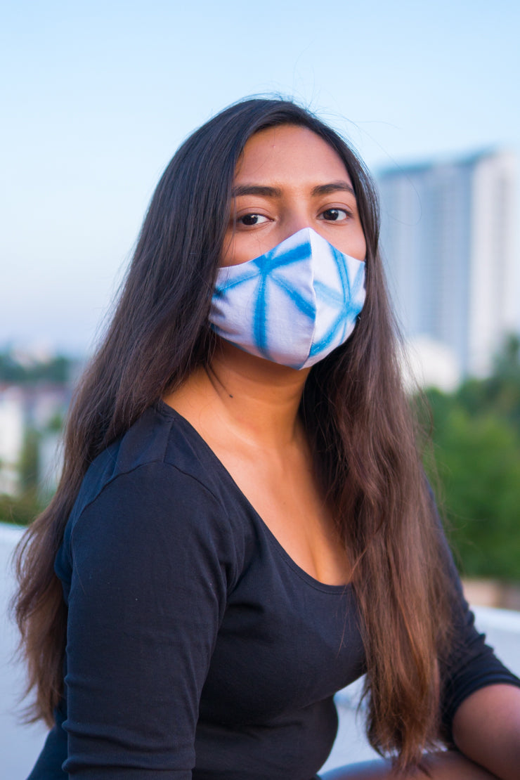 Covid Care Masks - Indigo Chevron