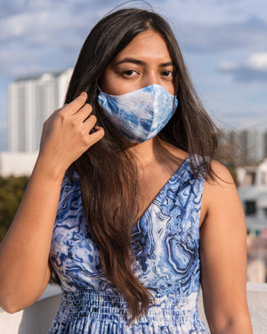 Covid Care Masks - Indigo Marble