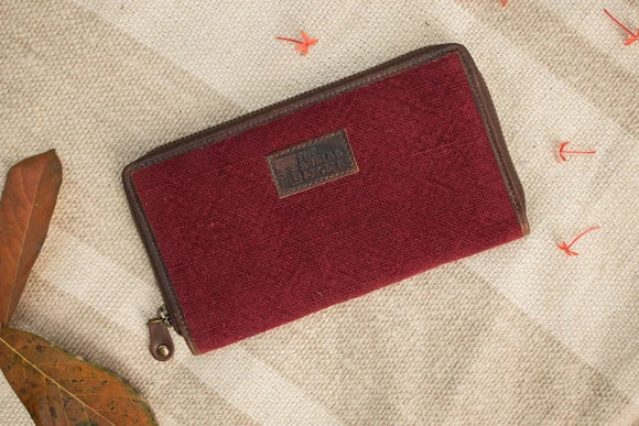 Dark Wine Zip Wallet