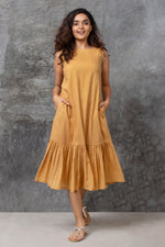 Golden Ruffled Midi