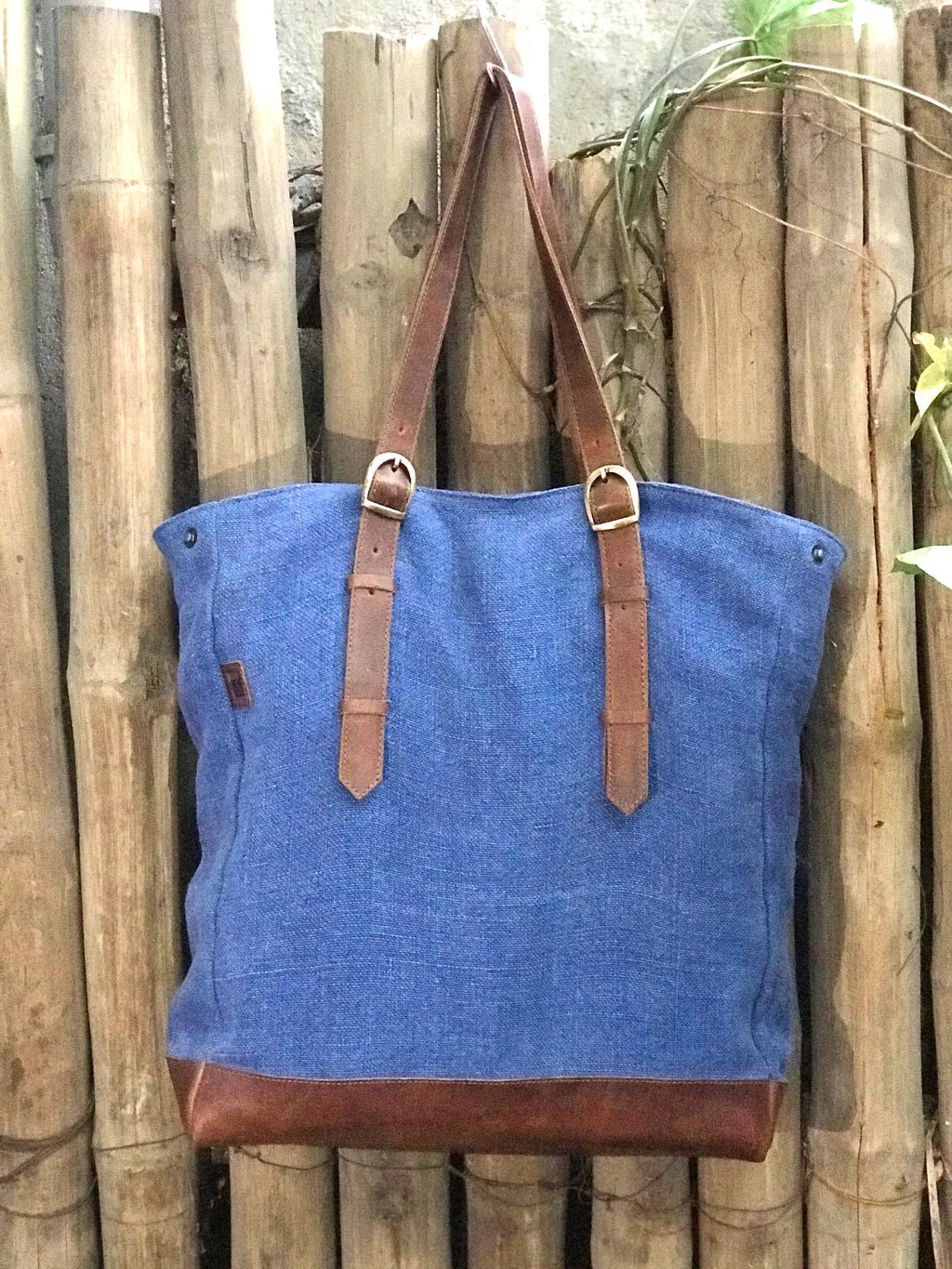Original Burlap Tote with Leather Base