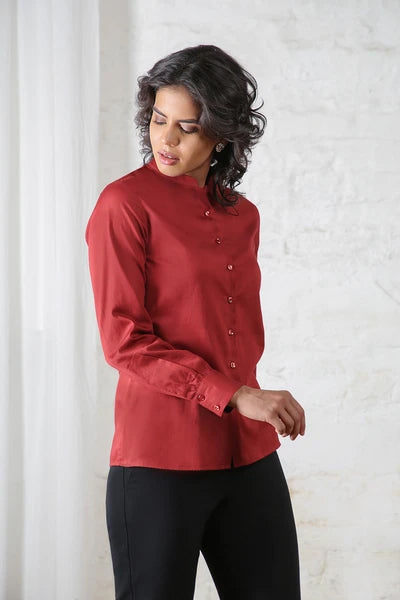 Maroon Cotton Satin Shirt