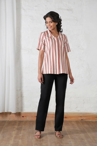 Red and White Half Sleeves Shirt