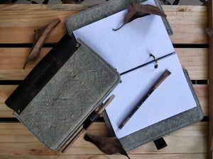 The Burlap Journal in Sage Gray (Big)