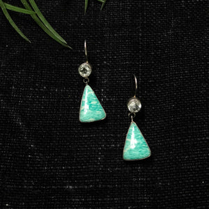 Green Amethyst Triangular Drop Earrings