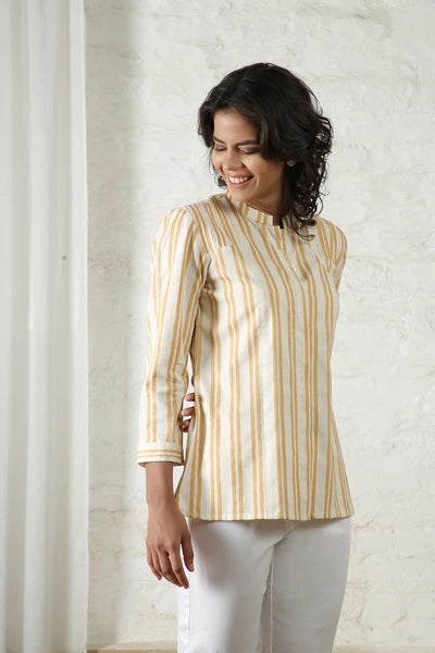 Yellow & White Striped Top